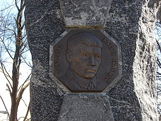 Ernests Brastiņš - Portrait of Ernests Brastiņš on his memorial stone in Riga