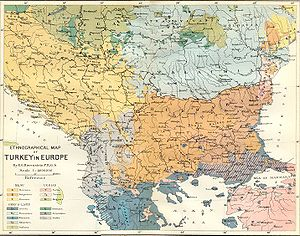 Congress of Berlin - Ethnic composition map of the Balkans by the German-English cartographer E. G. Ravenstein of 1870.
