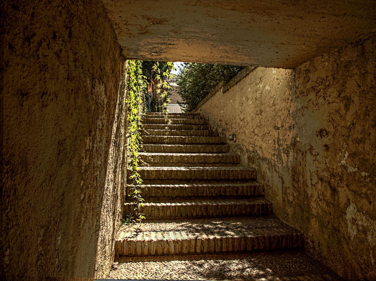 Escaleras cubiertas en el jardín del Carmen del Ave María.jpg