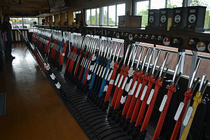 Crewe Heritage Centre - Levers of Exeter West signal box, as preserved at Crewe Heritage Centre