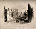 Exeter and Lincoln College, Oxford; panoramic views. Etching Wellcome V0014110.jpg