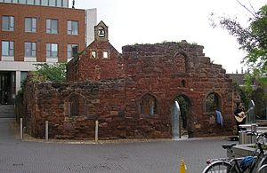 Exeter Blitz - The ruins of St Catherine's Almshouses, preserved amongst modern buildings as a memorial of the Blitz