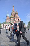 Expedition 56 crew members walk in front of St. Basil's Cathedral at Red Square in Moscow.jpg