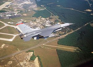 119th Fighter Squadron - An F-16 Fighting Falcon of the 119th Fighter Squadron, New Jersey Air National Guard prepares to land at the Atlantic City International Airport.