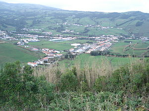 Flamengos - The village of Flamengos as seen from Monte Carneiro, the location of the first agglomeration of settlement on the island of Faial