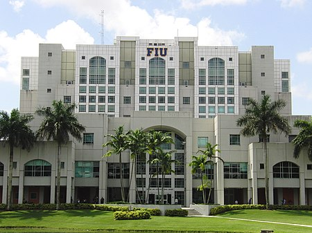 The Green Library, is one of the largest libraries in the Southeastern U.S. and is the largest building on-campus. FIU Green Library South Entrance.jpg