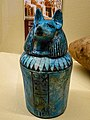 Faience canopic jar shaped as Duamutef guardian of the stomach from Sedment in Lower Egypt 19th Dynasty 1250 BCE Penn Museum.jpg