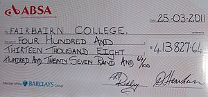 "Fairbairn College - Funds raised by learners during 2011 ""Big Walk"""
