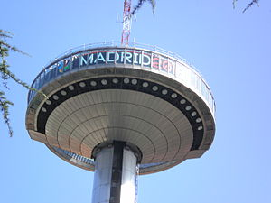 "Madrid bid for the 2016 Summer Olympics - Moncloa ""Lighthouse"" with supporting slogan for Madrid's bid for 2016 Olympics."