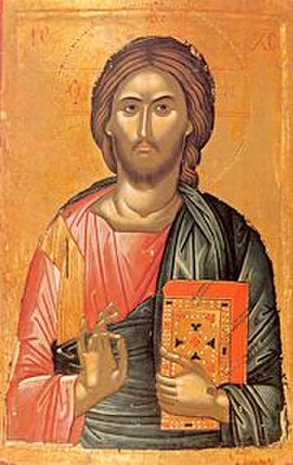 Benediction - Icon of Jesus Christ Pantokrator by Theophanes the Greek (14th century). His right hand is raised in benediction.