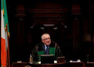 Members of the 32nd Dáil - Ceann Comhairle Seán Ó Fearghaíl at the first sitting of the 32nd Dáil