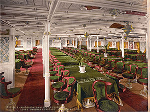 USS Aeolus (ID-3005) - The first class dining room of SS Grosser Kurfürst as it appeared c. 1900