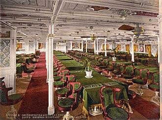 USS Aeolus (ID-3005) - The first class dining room of SS Grosser Kurfürst as it appeared c. 1900