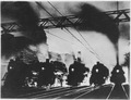Five steam locomotives, side by side, outbound from Chicago at dusk, ca. 1940 - NARA - 535894 Flipped horizontally.tif