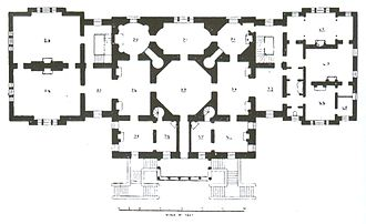 Chiswick House - Floor plan, showing the wings used for the patients of Chiswick Asylum, now removed