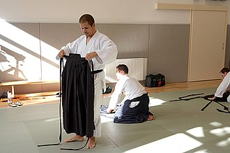 Aikido - Hakama are folded after practice to preserve the pleats.