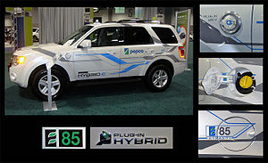 Flexible-fuel vehicle - Demonstration Ford Escape E85 flex-fuel plug-in hybrid.