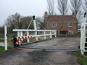 Bridgwater and Taunton Canal - Fordgate swing bridge, rebuilt in December 1987, and the third fixed bridge to be reinstated