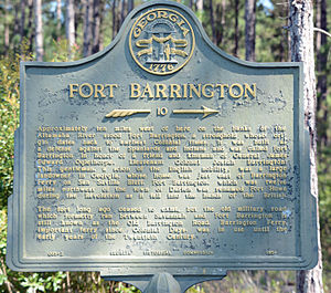 Fort Barrington - Historical marker 10 miles away, on Georgia Highway 57, at the McIntosh/Long County line