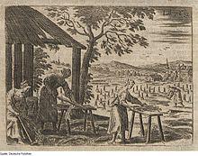 Gravure ancienne montrant les bottes dans un champ et des femmes écrasant les tiges