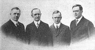 British Americans - Founders of Harley-Davidson, from left: William A. Davidson, Walter Davidson, Sr., Arthur Davidson, of Scottish descent, and William S. Harley, of English descent.