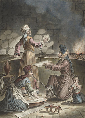 Female labor force in the Muslim world - Turkish Muslim women baking bread in the year 1790