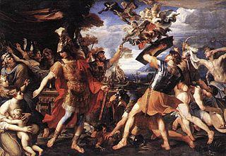 Énée et ses compagnons combattant les Harpies