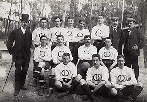 Union des Sociétés Françaises de Sports Athlétiques - The French football team at the 1900 Olympic Games. The players are wearing the distinct USFSA logo featuring the two interlinked rings. This design later inspired the Olympic symbol
