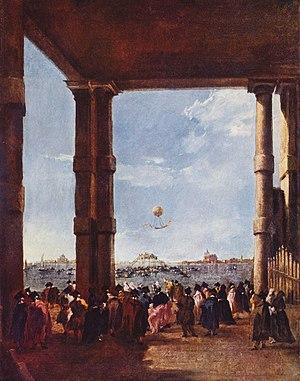 Francesco Zambeccari - Francesco Guardi, Ascent of a Balloon in Venice, 1784