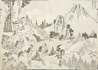 Mount Fuji - A view of Mount Fuji from the Taisekiji temple as immortalized by the reputed woodblock artist Katsushika Hokusai. The one hundred views of Mount Fuji. From the Elizabeth Joan Tanney estate, c. 1834.