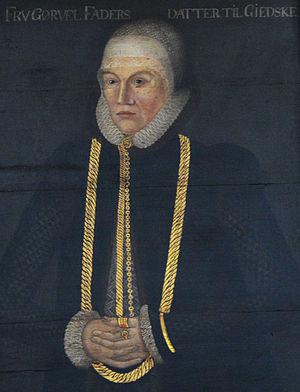 Nobiliary particle - Gørvel Fadersdotter of Giske (1517–1605). In the painting: 'Fru Gørvel Fadersdatter til Giedske'