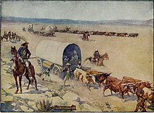 A romantic depiction of settlers in covered wagons, driving lifestock