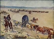 En romantisk skildring af bosættere i overdækkede vogne, der kører husdyr