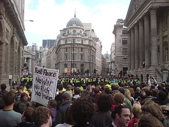 Death of Ian Tomlinson - Outside the Bank of England, 1 April 2009