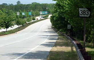Georgia State Route 383 - Picture of an SR 383 shield just north of Fort Gordon's Gate 1, just south of the intersection with US 78/US 278/SR 10. This shield is misplaced, as SR 383 doesn't actually begin until that intersection.