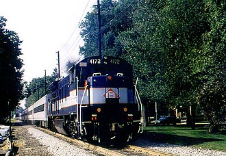 """GE U34CH - U34CH 4172 on the """"Farewell to the U34CH"""" excursion at Hillsdale, New Jersey, August 27, 1994"""
