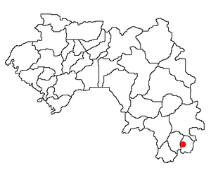 Location of Lola Prefecture and seat in Guinea.