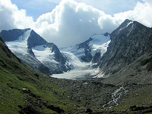 Hochfirst (Ötztal Alps) - Hochfirst (left) and Liebenerspitze (right of center) separated by the Gaisbergferner as seen from the north.