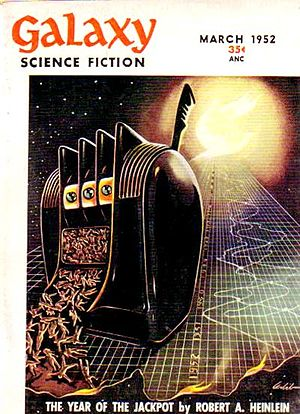 "Robert A. Heinlein bibliography - Heinlein's novelette ""The Year of the Jackpot"" was the cover story in the March 1952 issue of Galaxy Science Fiction"