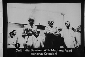 Gandhi with Maulana Azad and Acharya Kripalani...