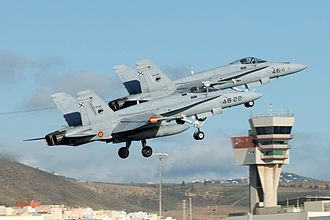 Gran Canaria Airport - Two F-18 of the Spanish Air Force in Gando Air Base which shares space with the airport