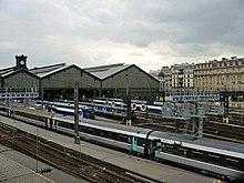 Vue aérienne des voies de la gare de Paris Saint-Lazare