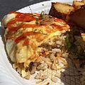 Garlic chicken omurice with garlic home fries (14206863315).jpg