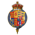 Garter encircled arms of Alexandra of Denmark, Queen Consort of the United Kingdom.png