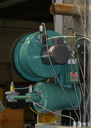 Autoclave (industrial) - Modulating gas burner firing into tubular heat exchanger.