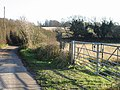 Gate, lane and fields - geograph.org.uk - 634007.jpg