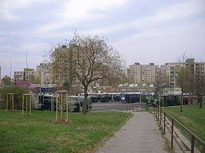 Gazdagrét - Bus station at Gazdagrét square