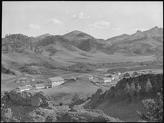 Rocky Boy's Indian Reservation - General view of buildings at Rocky Boy Indian Reservation, 1936