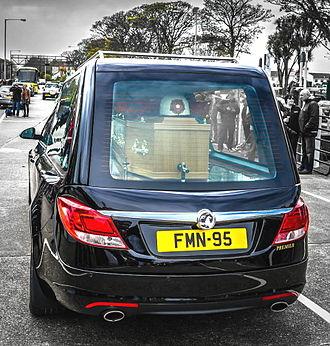Geoff Duke - Duke's funeral cortege assembled at TT Grandstand
