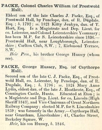 George Hussey Packe - George Hussey Packe biographical note in The county families of the United Kingdom; or, Royal manual of the titled and untitled aristocracy of Great Britain and Ireland, 1860